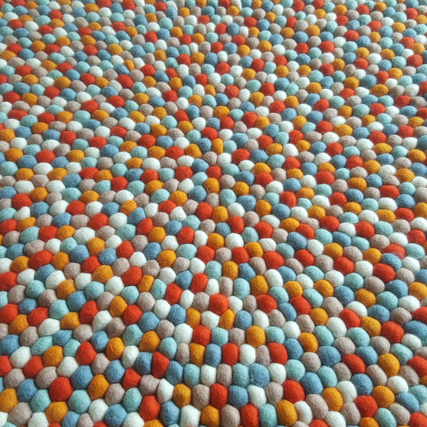 Felt Ball Rug – Sunset on a Beach
