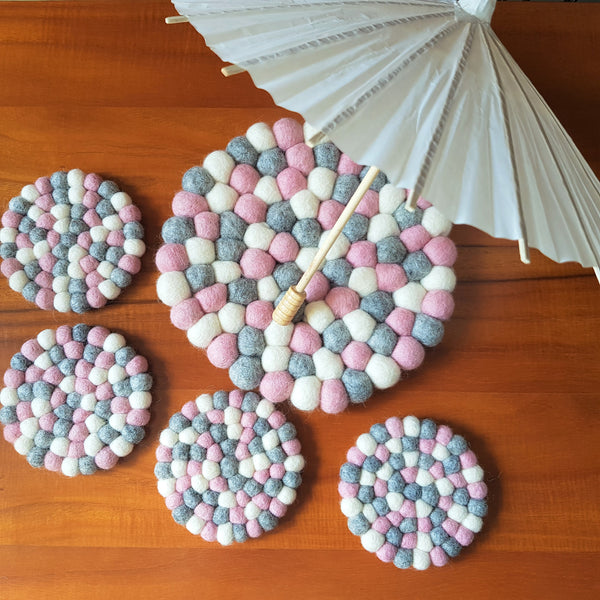 Felt Ball Trivet & Coaster Set - Aira