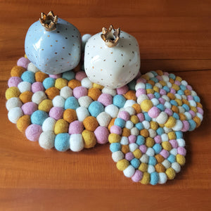 Felt Ball Trivet & Coaster Set - Honeycomb