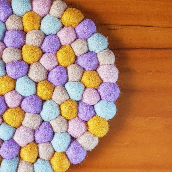 Felt Ball Trivet & Coaster Set - Wildflower