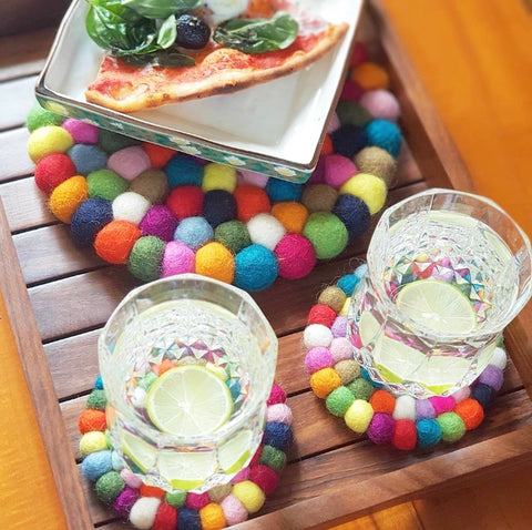Felt Ball Trivet & Coaster Set - Skittles