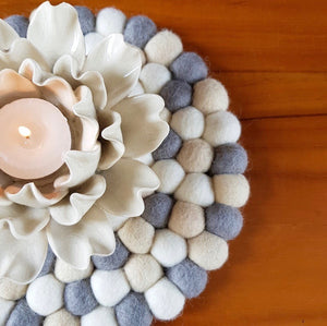 Felt Ball Trivet & Coaster – Scandi Chic