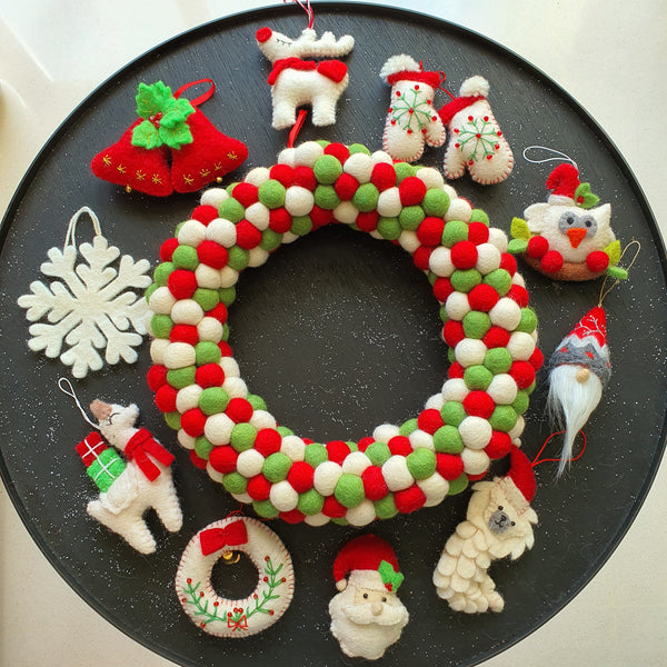 Felt Ball Wreath - Red, Light Green and White