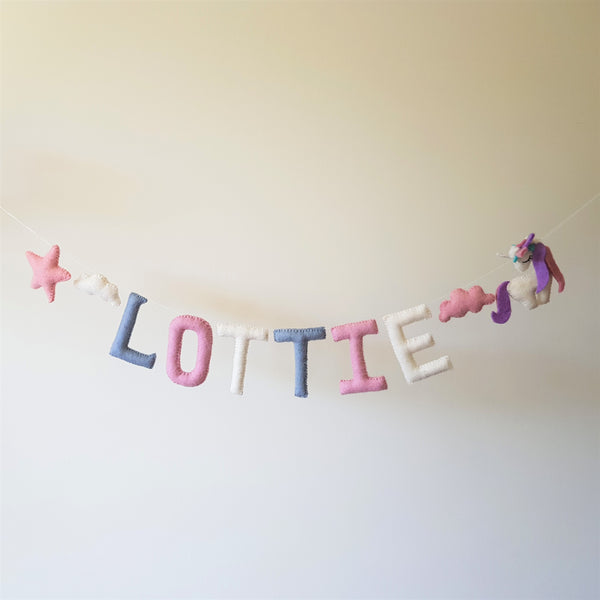 Customized Name Bunting - Duck Blue, Light Pink and White