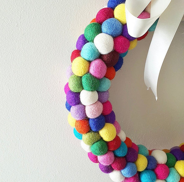 Felt Ball Wreath - Multicolor