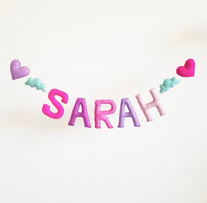Customized Name Bunting - Pinks and Purples