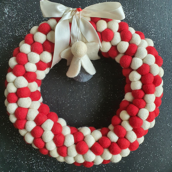 Felt Ball Wreath - Red and White