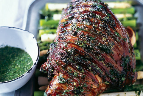 Mint Vinegar and Honey Glazed Roast Lamb donna hay