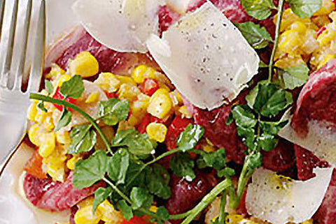 Wagyu Beef Carpaccio with Corn & Capsicum Relish
