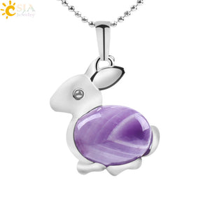 CSJA Natural Gem Stone Beads Rabbit Animal Necklaces & Pendants Chakra Reiki Pink Purple Crystal Aventurine Tiger Eye Opal F095