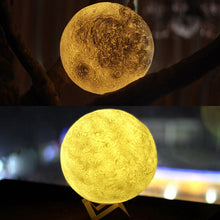 Load image into Gallery viewer, 3D RGB Print LED Moon Light, Magical Night Light Desk Lamp USB Rechargeable Light Multi-color(3 Light Colors Stepless) Fit for Home Decoration Personality Creative Lunar Lamp For Home, Party, Shopping Mall, Restaurants