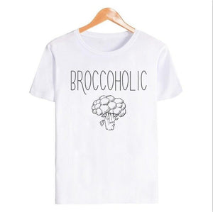 Lei-SAGLY Broccoholic Vegan & Vegetarian Broccoli Lovers T-Shirt Casual Short Sleeve for Women Clothing Summer Round Neck Shirts