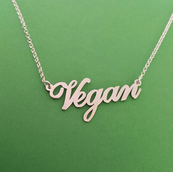 2018 Fashion Silver Plated Letters Vegan Pendant Necklace Choker Vegetarian People Symbol Lifestyle Gift Jewelry for women Gift