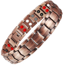 Load image into Gallery viewer, Double Row 4 IN 1 Bio Elements Energy Magnetic Bracelet Men's Fashion Healing 99.95% Pure Copper Bracelets Bangles