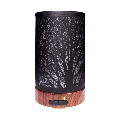 100ml Small Air Humidifier Night Light Aromatherapy Aroma Diffuser Oil Diffuser Trees Iron Art Air Diffuser Purifier Mist Maker for Home Office Yoga