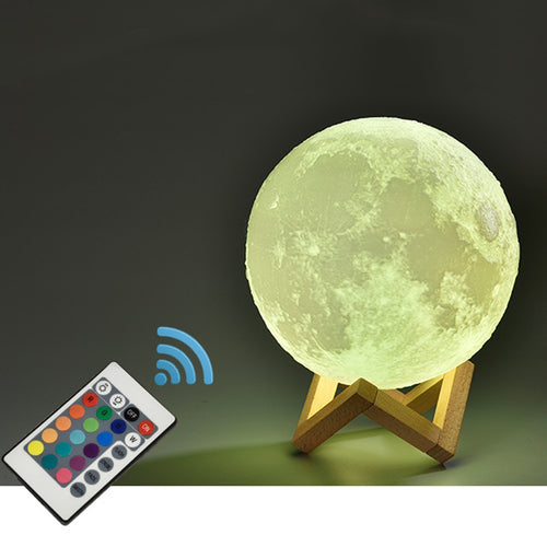 16 Color Change Rechargeable Moon Lamp 3D Light Touch Switch 3D Print Lamp Moon Bedroom Bookcase Night Light Creative Gifts