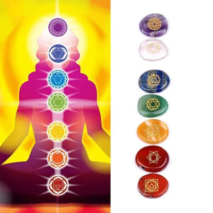7 Pcs/Set Engraved Spiritual Healing Meditation Palm Stones Reiki Chakra Energy