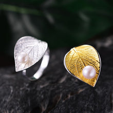 Load image into Gallery viewer, Lotus Fun Real 925 Sterling Silver Natural Pearl Handmade Designer Fine Jewelry Creative Open Ring Leaf Rings for Women Bijoux