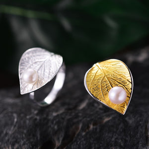 Lotus Fun Real 925 Sterling Silver Natural Pearl Handmade Designer Fine Jewelry Creative Open Ring Leaf Rings for Women Bijoux