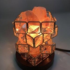 ICOCO Special Magic Cube Shape Healthy Life Himalayan Natural Crystal Salt Light Air Purifying Himalayan Salt Lamp for Bedroom