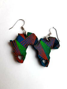 Africa Shaped Shweshwe Earrings