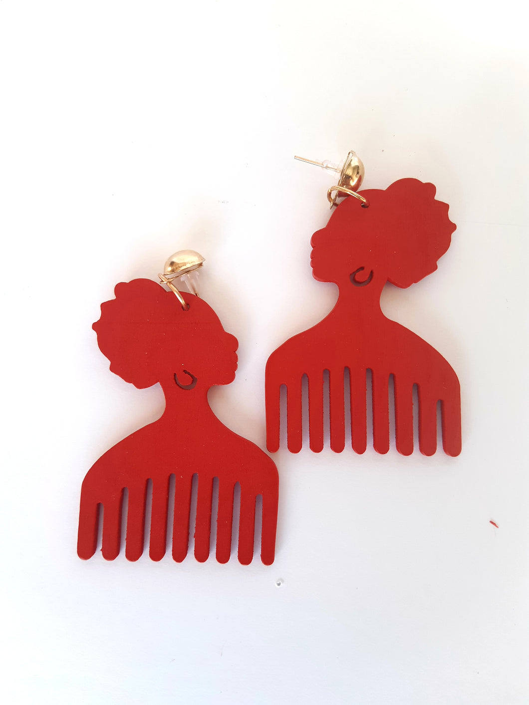 African Wooden Comb Earrings