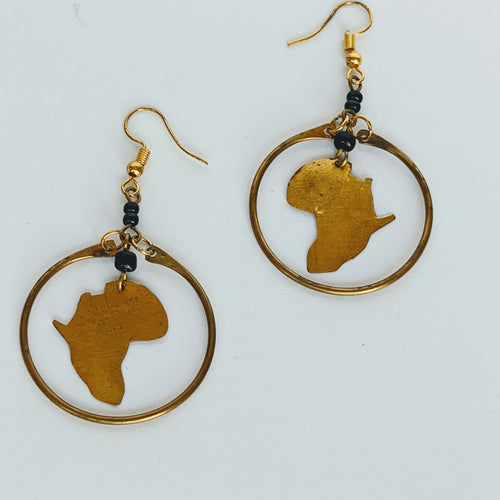 Africa Shaped Circle Brass Earring