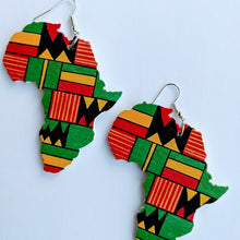 Load image into Gallery viewer, These beautiful earrings are handmade in South Africa out of Wood. They are laser cut in Africa shape and added the desire color. This earring is perfect for all outfit.