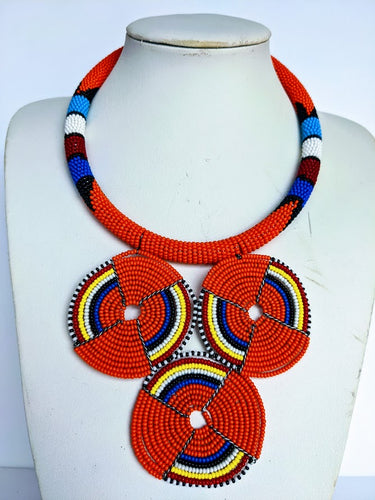This colorful African necklace will make a difference in your outfit. It is approximately 53 cm long.