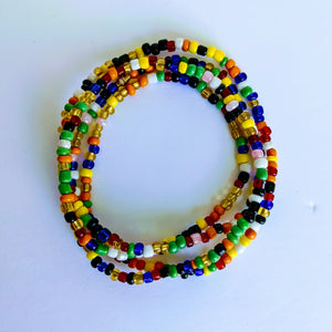 This beautiful waist beads are handmade in Cameroon using glass beads  Approximately 100 cm long with clasps. The beads are used for beauty and for weight loss. They make the waist noticeable and sexy.