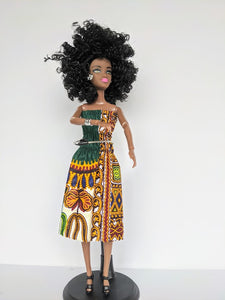 African Doll Outfits - Dashiki Elastic Dress