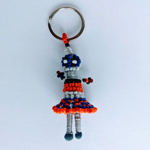 African Beaded Keyring Doll