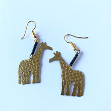 Load image into Gallery viewer, African Brass Giraffe Earring