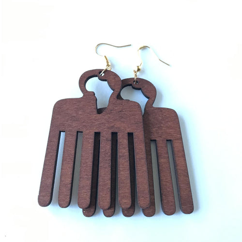 African Comb Wooden Earring