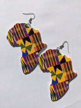 Load image into Gallery viewer, Africa Shaped Wooden Colorful Earrings