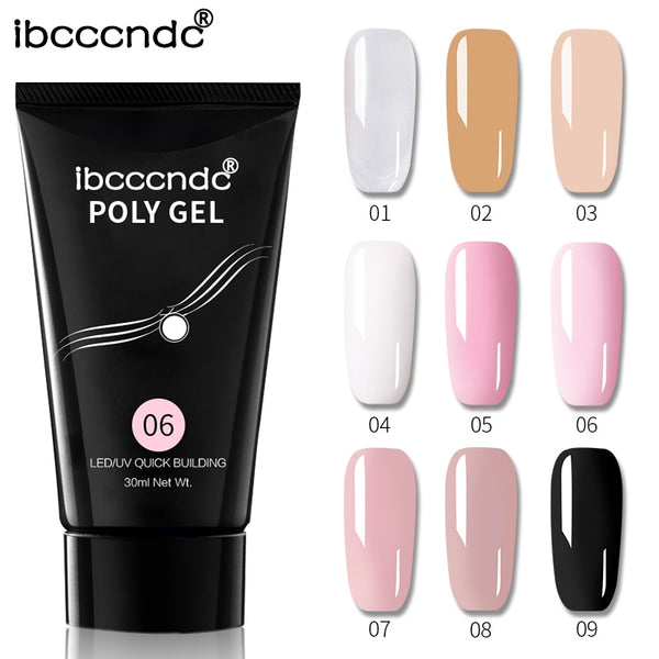 9 Colors 30g Nail Acrylic Hard Poly Gel Pink White Clear Crystal UV LED Builder Gel Tips Enhancement Quick Extension Gel Varnish
