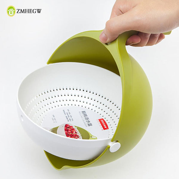 Double Drain Basket Bowl Rice Washing