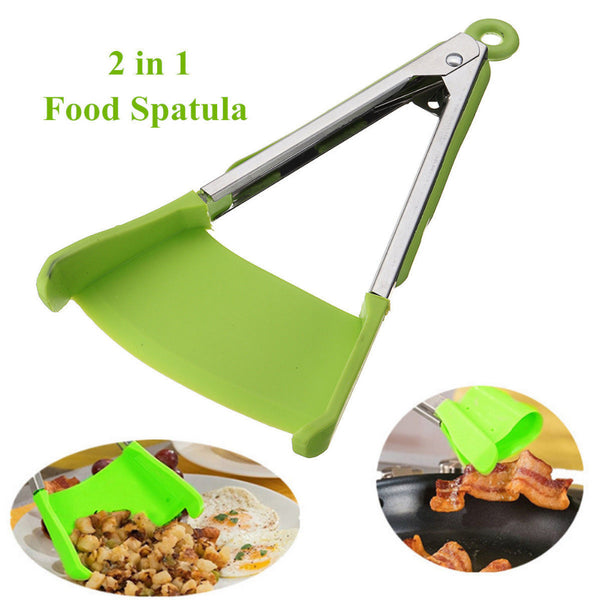 New 2 in 1 Smart Kitchen Spatula and Tongs Non-Stick Heat Resistant Stainless Steel Frame Silicone Tongs Kitchen Gadget