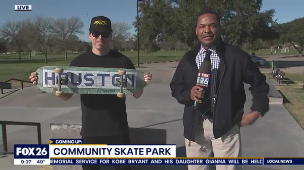 Dan MacFarlane and Blue Tile Sign Houston Skateboards Skateboard on Fox 26