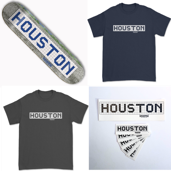 Houston Blue Tile Sign Skateboard Deck Stickers T Shirts