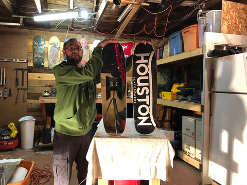 Artist Matt Brooks with the Houston Skateboards Coffin Skateboard Mirror