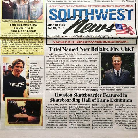Dan MacFarlane Skateboarding Hall of Fame exhibit on Southwest News cover Houston, Texas