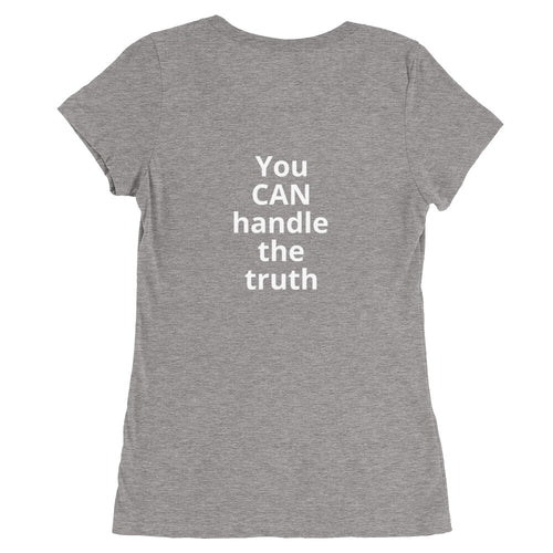 Ladies' short sleeve stretch cotton t-shirt (with text on back)