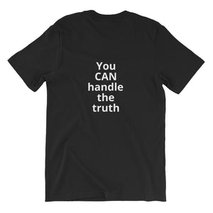 Unisex short sleeve stretch t-shirt (with text on back)