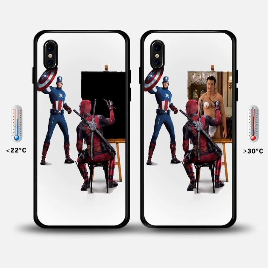 Deadpool Thermal Sensor Deadpool&captain America Iphone Case Bfcm Captain America Deadpool Hotsale Ip7G Phone-Case 2018 $15.99