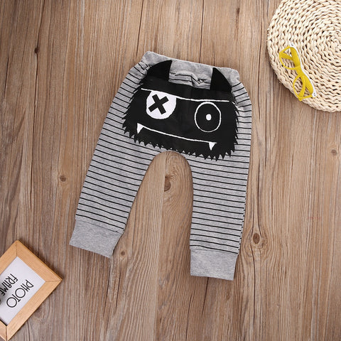 0-24M Striped Newborn Baby Boys Girls Bottoms Pants Monster Harem Pants Leggings Trousers for baby kids free shipping