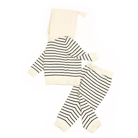 0-24M Super Cute Newborn Baby Suits Fashion Stripes Knit Infant Boys Girls Clothing Sets Spring Autumn Outerwear Children Outfit
