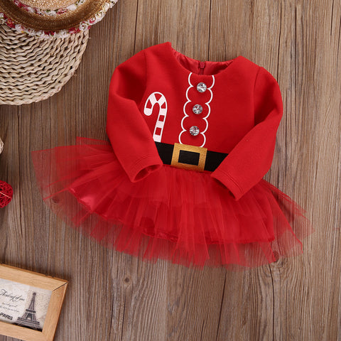 0-2T Baby Girl Christmas Dress Girl's Long Sleeve Merry Christmas Dress Kids Casual Tulle Tutu Dress Party Outfits Costume