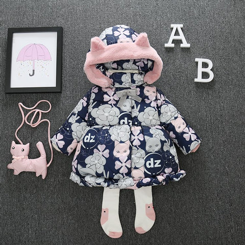 144b15d79 0-5 Years Floral Print Thick Kids Girls Winter Co Jacket Snow We Cute C  Hooded Toddler Girl Parkas Down Cotton Padded Z108