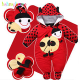 0-9Months/Autumn Winter Baby Girls Boys Rompers Cartoon Cute Thick Warm Hooded Jumpsuits Newborn Clothes Infant Clothing BC1225